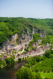 La Roque Gageac village in the Dorgogne region of France. Lanscape view of the village of La Roque Gageac in France with the dordogne river at the bottom Stock Photo