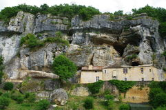 La roque saint christophe. Prehistoric caves and rock shelters on cliff along the vézère river in dordogne in france Stock Photography