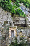 La Roque Saint Christophe troglodytic site in Perigord Stock Images