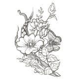 La rosa canina selvatica fiorisce con il clipart di vettore del disegno della farfalla su fondo bianco Fotografia Stock