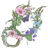 La rosa canina selvatica fiorisce con il clipart di vettore del disegno della farfalla su fondo bianco Immagine Stock Libera da Diritti