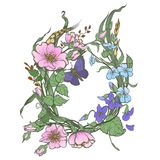 La rosa canina selvatica fiorisce la struttura con il clipart di vettore del disegno della farfalla su fondo bianco Fotografia Stock Libera da Diritti