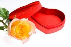 La rosa roja del amarillo y un corazón forman el rectángulo imagen de archivo