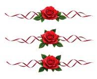 La rosa rossa fiorisce la decorazione del nastro della seta e del mazzo Fotografia Stock