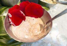 La rosa rossa vende la crema cosmetica della maschera per la donna in ciotola del metallo fotografia stock