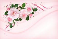 La rose de rose fleurit, des rubans de satin et des confettis de scintillement dans une flore images libres de droits
