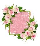 La rose de rose fleurit et un cadre vert sur le traçage de scintillement photos stock