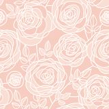 La rose pâle simple de couleur fleurit le modèle sans couture Image libre de droits