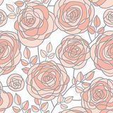La rose pâle simple de couleur fleurit le modèle sans couture Image stock