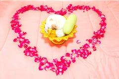 La rose thaïlandaise de cérémonie et de rouge de mariage poussent des feuilles dans la forme de coeur sur le lit Image stock