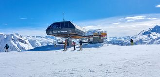 LA ROSIERE, FRANCE - MARCH 4, 2018: Skiing in the San Bernardo P Stock Photos