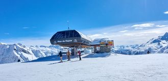 LA ROSIERE, FRANCE - MARCH 4, 2018: Skiing in the San Bernardo P Royalty Free Stock Photo