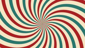 La rotación animada del circo colocó el fondo de la raya del rojo y de las Líneas Verdes o Burs de la feria de diversión del  stock de ilustración