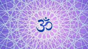 La rotación de la mandala circular a cielo abierto en tono púrpura con el Aum/el ohmio/OM