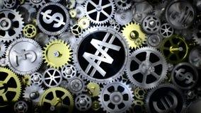 La rotación ganada firma adentro la unidad del engranaje con la diversa muestra de moneda ilustración del vector