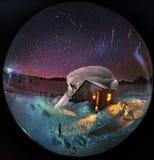 La rotation des étoiles autour de l'étoile du nord Images libres de droits