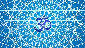La rotation du mandala ? jour dans le ton bleu avec le signe d'Aum/ohm/OM illustration stock