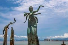 La rotonda degli sculputers del mare in Puerto Vallarta in Mexic fotografia stock libera da diritti