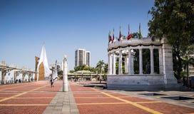 La Rotonda Monument at Malecon Simon Bolivar Guayaquil. Guayaqui, Ecuador - July 10, 2014: A side view of La Rotonda monument at Malecon Simon Bolivar in Royalty Free Stock Photo