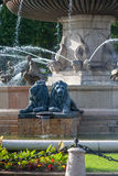 La rotonde喷泉在艾克斯普罗旺斯 库存图片