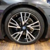 La roue de BMW a montré à la 3ème édition de l'EXPOSITION de MOTO à Cracovie Pologne Images stock