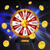 La roue de la chance avec des pièces d'or objectent, d'isolement sur le fond rougeoyant foncé illustration stock