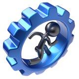 La roue dentée intérieure d'homme d'humain courant de caractère a stylisé l'icône Photo stock
