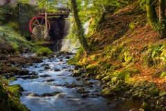 La roue hydraulique chez un Glenariff est une vallée de comté Antrim, Irlande images libres de droits