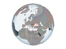 La Roumanie avec le drapeau sur le globe d'isolement illustration de vecteur