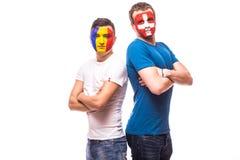 La Roumanie contre la Suisse avant jeu sur le fond blanc Photographie stock libre de droits