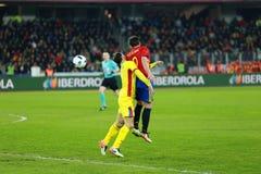 La Roumanie contre le match de l'Espagne avant l'euro 2016 Images libres de droits