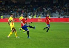 La Roumanie contre le match de l'Espagne avant l'euro 2016 Photographie stock