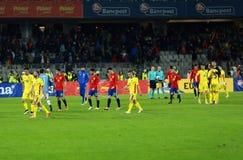 La Roumanie contre le match de l'Espagne avant l'euro 2016 Image libre de droits