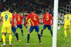 La Roumanie contre le match de l'Espagne avant l'euro 2016 Photo stock