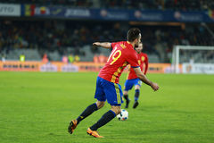 La Roumanie contre le match de l'Espagne avant l'euro 2016 Photos libres de droits