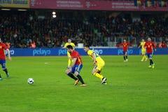 La Roumanie contre le match de l'Espagne avant l'euro 2016 Photographie stock libre de droits