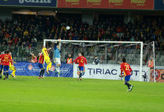 La Roumanie contre le match de l'Espagne avant l'euro 2016 Photo libre de droits