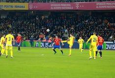 La Roumanie contre le match de l'Espagne avant l'euro 2016 Image stock