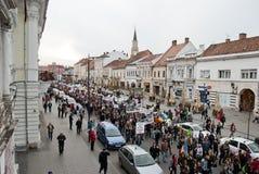 La Roumanie dans la protestation continue Image stock