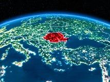 La Roumanie de l'espace la nuit Images stock