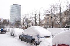 La Roumanie sous la chute de neige importante Image stock