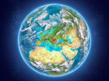 La Roumanie sur terre de planète dans l'espace Image stock