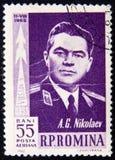 La Roumanie vers l'astronaute 1962 A Nikolaev et vaisseau spatial Vostok-3 Images libres de droits