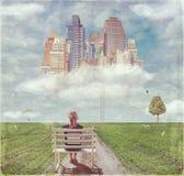 La route à la future ville sur le nuage Images stock