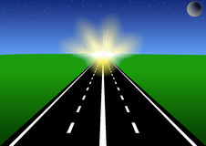 La route au soleil. Images libres de droits