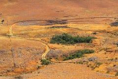 La route, chemin en montagnes de dragon de Drakensberg aménagent en parc Images libres de droits