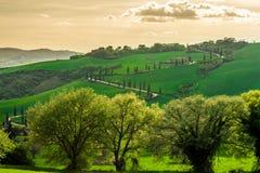 La route d'enroulement célèbre avec des cyprès en ` Orcia de Val D images stock