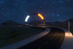 La route de ondulation et l'entrée magique ronde, rendu 3d illustration de vecteur