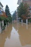 La route a noyé pendant un déluge Photographie stock libre de droits