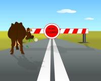 La route s'est fermée avec la vache Illustration de Vecteur